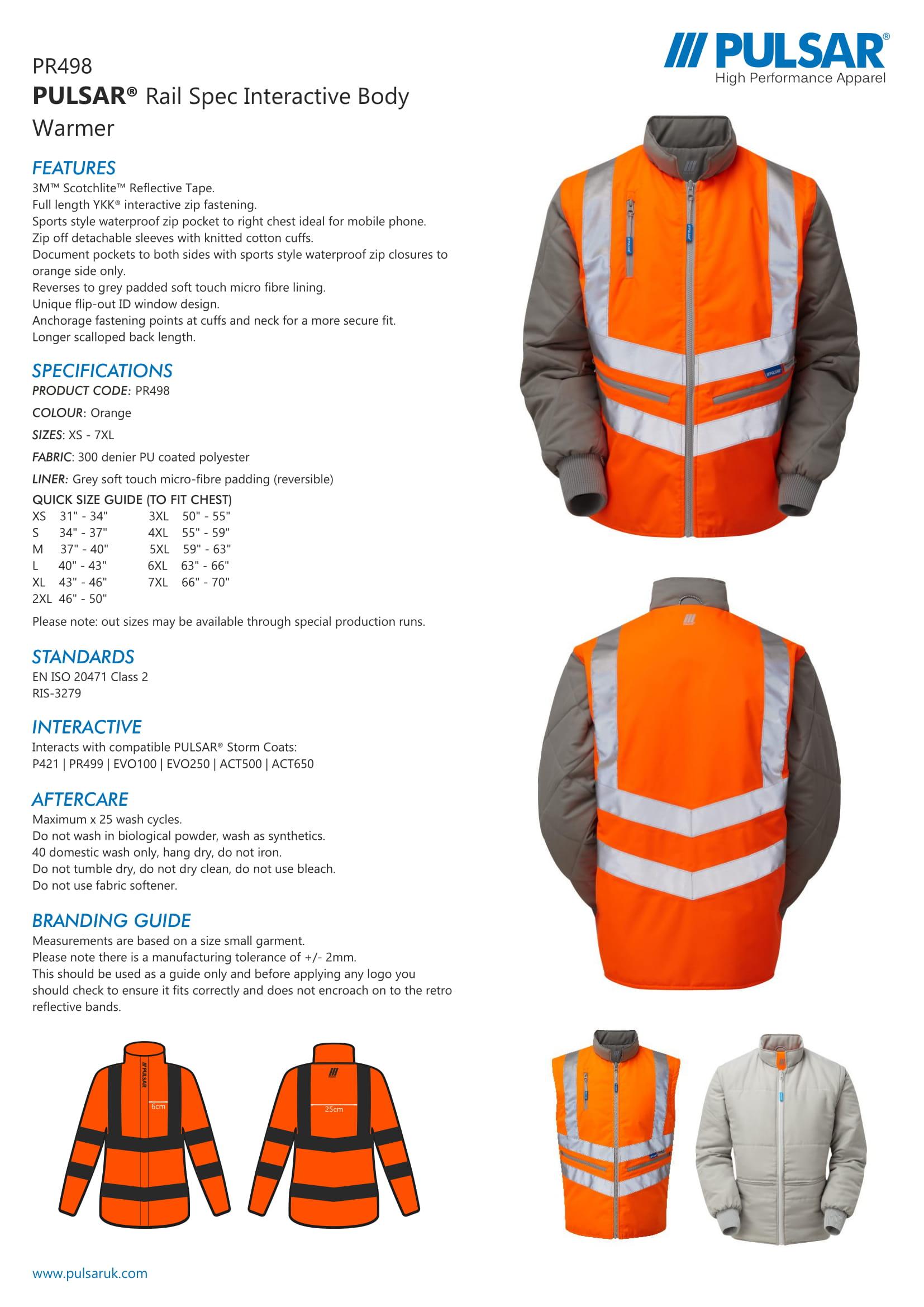 Pulsar Rail Spec Interactive Body Warmer Pr498 Spartan Safety