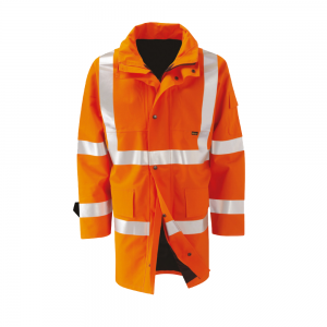 Alternative Views: Hi Vis Orange Flame Retardant Antistatic Lined Rail Coat