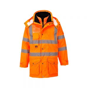 Hi Vis Orange Waterproof Breathable 7 in 1-Rail Coat A