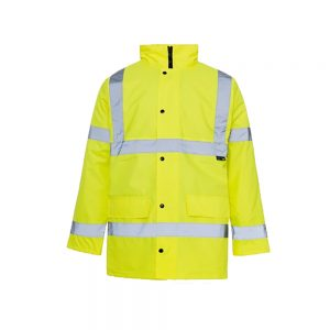 Hi Vis Yellow Waterproof Padded Traffic Coat
