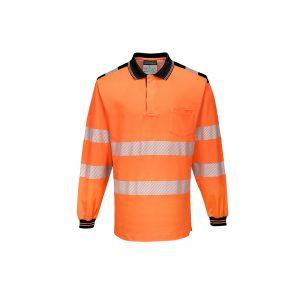 T184 PW3 Hi Vis Polo Shirt LS Front